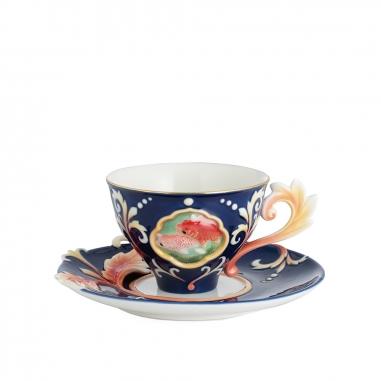FRANZ法藍瓷 故宮游魚轉心瓷杯盤組