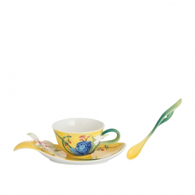 FRANZ法藍瓷 故宮芝蘭壽石瓷杯盤湯匙組