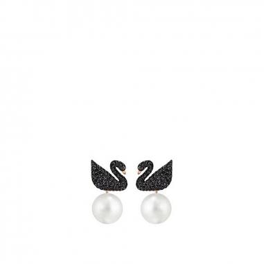 Swarovski施華洛世奇 Swan密鑲黑天鵝珍珠耳環