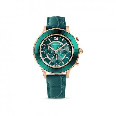 Swarovski施華洛世奇 OCTEA LUX 玫瑰金綠皮錶
