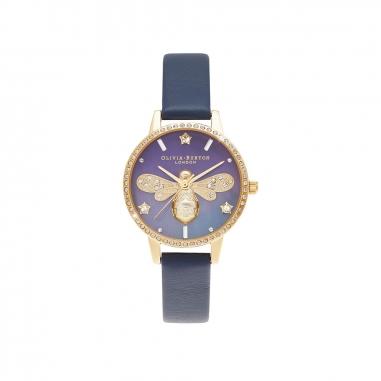 Olivia BurtonOlivia Burton SparkleBee金框藍皮錶