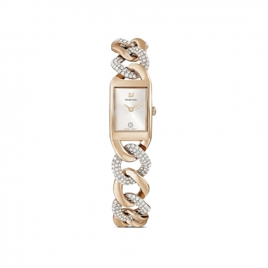 Swarovski施華洛世奇 Cocktail白面方框檳金鍊錶