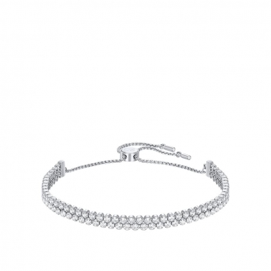 Swarovski施華洛世奇 Subtle鑲雙排白水晶銀手環