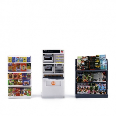 TINY微影 1/35 香港7-11 X Lulu聯名 迷你精品貨架+雜誌架+微波爐櫃 配件組合 _3D