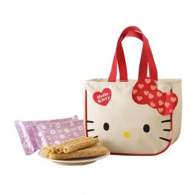 九利臻九利臻 Hello Kitty 芝麻蛋捲禮盒-大臉提袋款