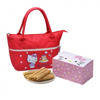 Sanrio三麗鷗 Hello Kitty 芝麻蛋捲禮盒-小熊好友(紅)