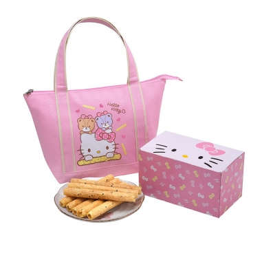 Sanrio三麗鷗 Hello Kitty 芝麻蛋捲禮盒-小熊好友(粉)
