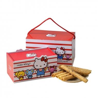 Sanrio三麗鷗 Hello Kitty 芝麻蛋捲禮盒-經典條紋款