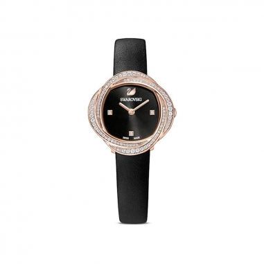 Swarovski施華洛世奇 Crystal Flower 鑲玫瑰金框黑皮錶