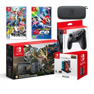 Nintendo任天堂 Switch 魔物崛起特仕同捆機+瑪利歐網球+明星大亂鬥+Joycon充電座+Pro控制器+便攜包(含保護貼)