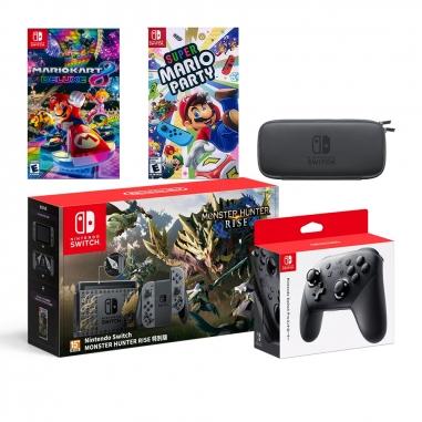 Nintendo任天堂 Switch 魔物崛起特仕同捆機+瑪力歐派對8+瑪利歐賽車8+Pro控制器+便攜包(含保護貼)