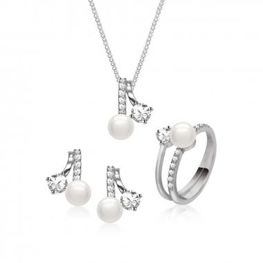 Toscow澳詩蔻 珍珠項鏈+耳環+戒指