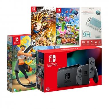 Nintendo任天堂 SWITCH 灰電力加強版主機+《健身環大冒險》+《NEW寶可夢》+《七龍珠》(含保護貼)