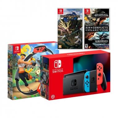 Nintendo任天堂 SWITCH 紅藍電力加強版主機+《健身環大冒險》+《魔物獵人》+《藍天天對決》