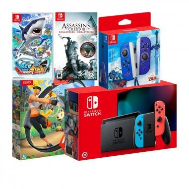 Nintendo任天堂 SWITCH 紅藍電力加強版主機+禦天之劍左右手把+《健身環大冒險》+《王牌釣手》+《刺客教條3》