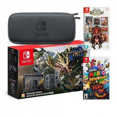 Nintendo任天堂 SWITCH 魔物崛起特仕同捆機+《王國之心》+《瑪利歐3D世界》+便攜包(含保護貼)