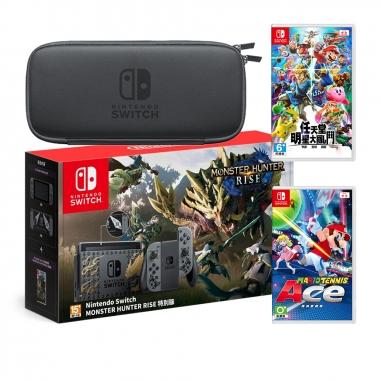 Nintendo任天堂 SWITCH 魔物崛起特仕同捆機+《明星大亂鬥》+《瑪利歐網球》+便攜包(含保護貼)