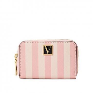 Victoria's Secret維多利亞的秘密 粉色條紋拉鍊短夾