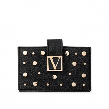 Victoria's Secret維多利亞的秘密 黑色鉚釘大容量按扣卡包