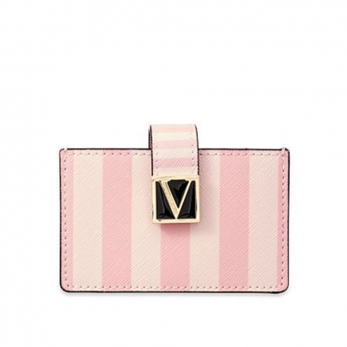 Victoria's Secret維多利亞的秘密 粉色條紋按扣卡包