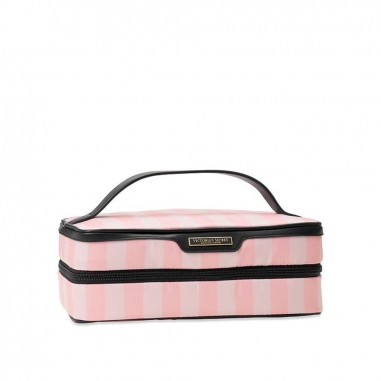 Victoria's Secret維多利亞的秘密 粉色條紋女士化妝包