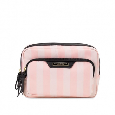 Victoria's Secret維多利亞的秘密 粉白條紋雙層化妝包