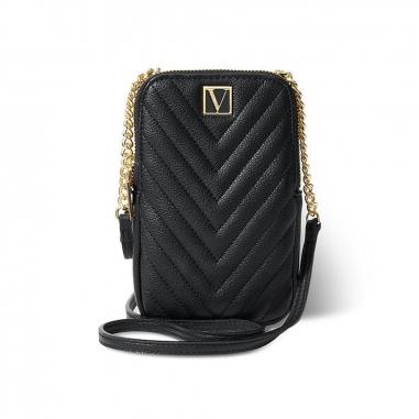 Victoria's Secret維多利亞的秘密 黑色V字logo手機包