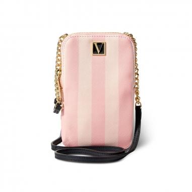 Victoria's Secret維多利亞的秘密 粉色條紋手機包