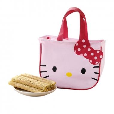 Sanrio三麗鷗 Hello Kitty 芝麻蛋捲禮盒-大臉提袋款