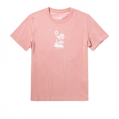 THE NORTH FACETHE NORTH FACE 北面女款粉色胸前新穎印花圓領短袖T恤