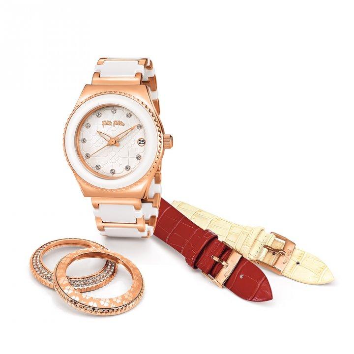 Folli Follie芙麗芙麗 Heart 4 Heart  鍍玫瑰金陶瓷腕錶套裝