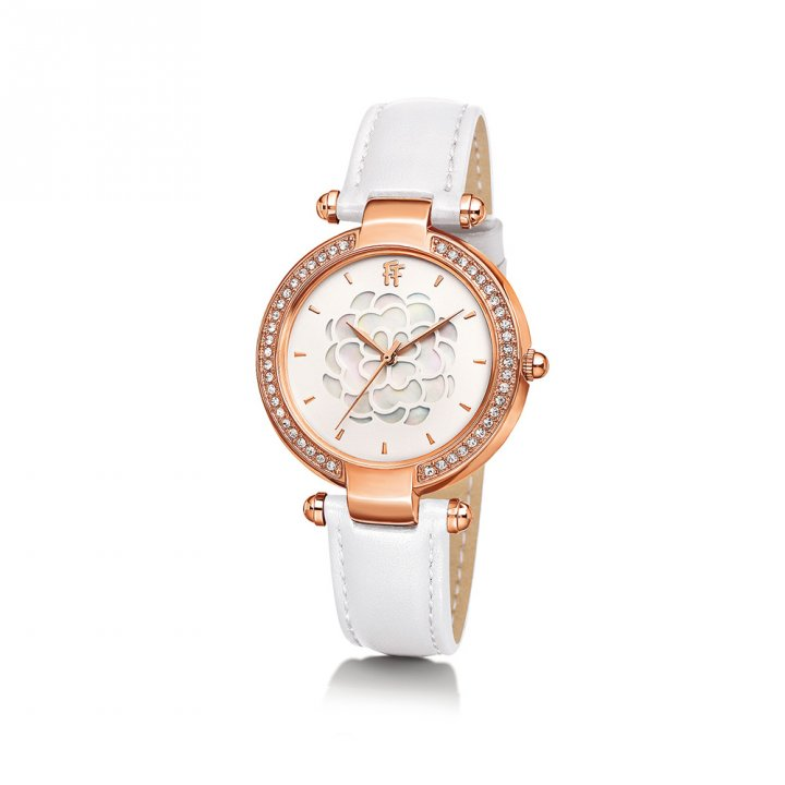 Folli Follie芙麗芙麗 鍍玫瑰金皮革錶帶女裝腕錶
