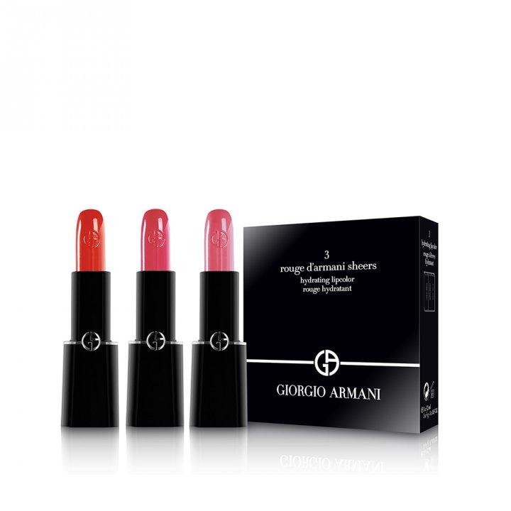 Giorgio Armani阿瑪尼 奢華晶漾訂製唇膏三支裝套組