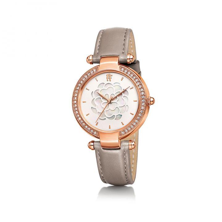 Folli Follie芙麗芙麗 Hollow Santorini Flower皮帶腕錶