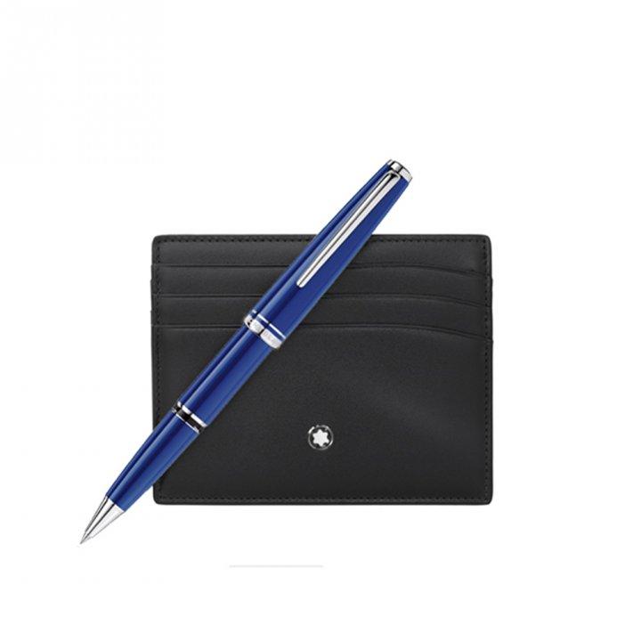 Montblanc萬寶龍(精品) CRUISE套組-藍色鋼珠筆+ 6卡卡夾