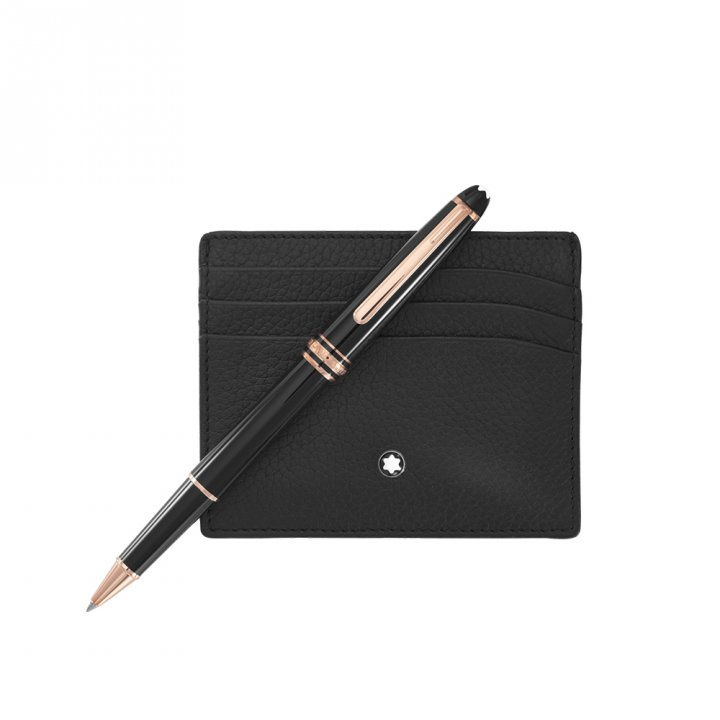Montblanc萬寶龍(精品) 大班套組-大班經典款玫瑰金鋼珠筆+卡夾
