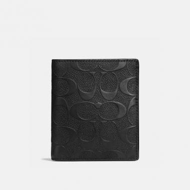 Coach蔻馳(精品) 經典壓紋皮革薄型零錢皮夾