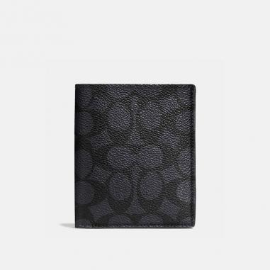 Coach蔻馳(精品) 經典LOGO塗層帆布薄型零錢皮夾