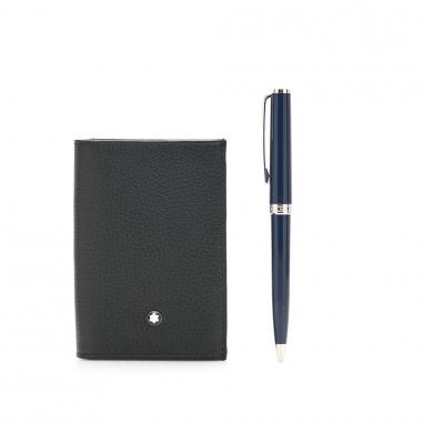 Montblanc萬寶龍(精品) 套組-PIX系列原子筆藍+軟皮粒紋名片夾