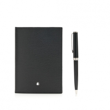 Montblanc萬寶龍(精品) 套組-PIX系列原子筆黑+護照夾