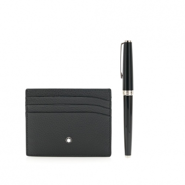 Montblanc萬寶龍(精品) 套組-PIX系列鋼珠筆黑+6卡卡夾