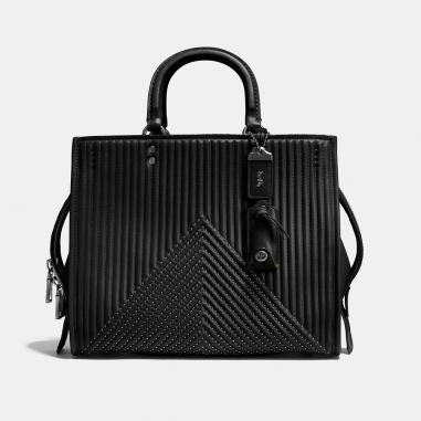 Coach蔻馳(精品) ROGUE 絎縫格紋鑲嵌鉚釘手袋