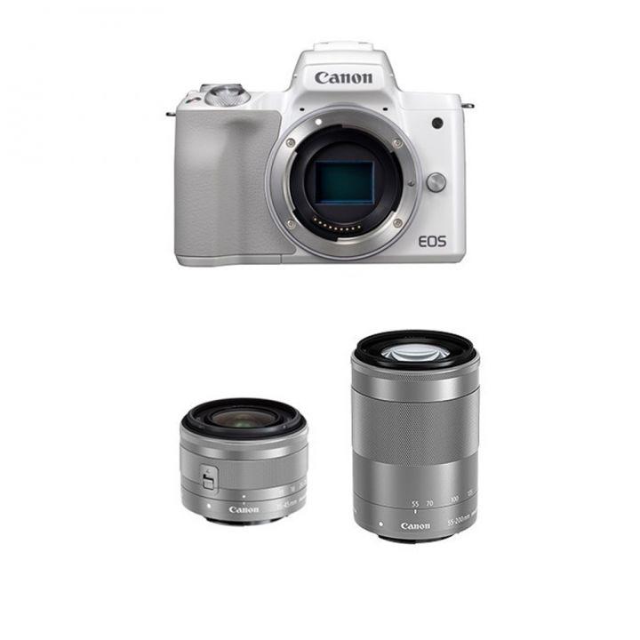 Canon佳能 EOS M50 15/45-55/200時尚白雙鏡組