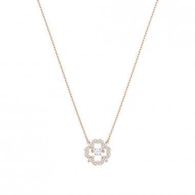 Swarovski施華洛世奇 SPARKLING DC:NECKLACE FLOWER CZWH/ROS鏈墜