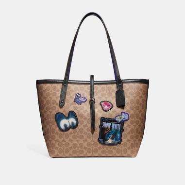 Coach蔻馳(精品) DISNEY X COACH MARKET經典塗層帆布拼接托特手袋