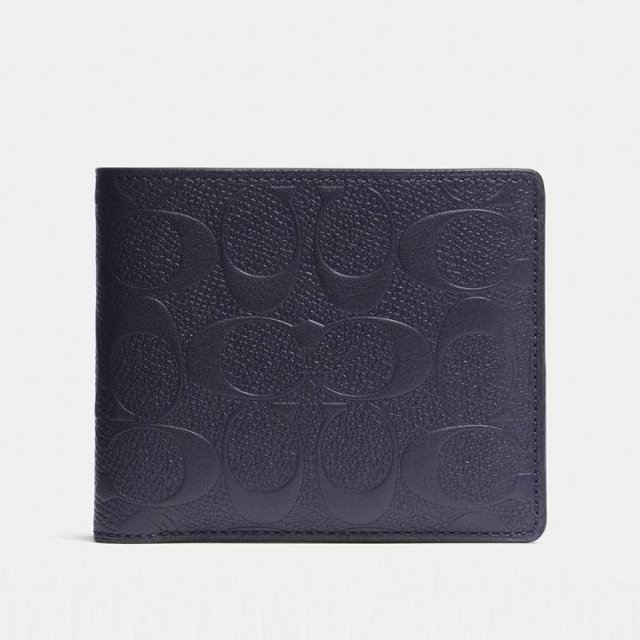 Coach蔻馳(精品) COACH 輕薄經典CROSSGRAIN皮革證件夾