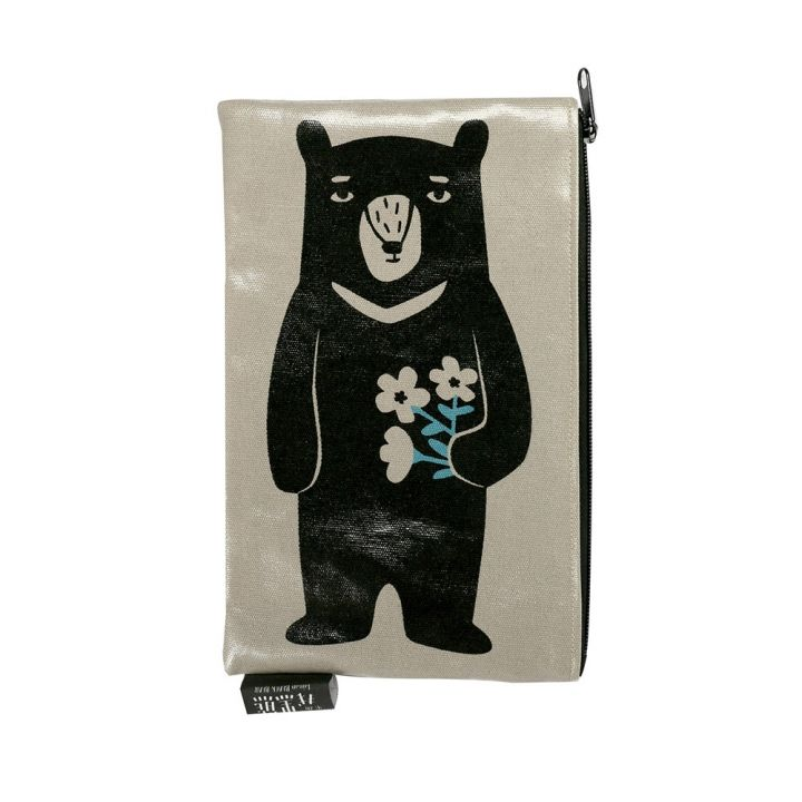 Jean Cultural知音文創 黑熊收納袋-長型黑熊拿花