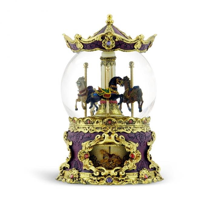 antique carousel musical water globe仿古董遊樂馬音樂鈴水晶球