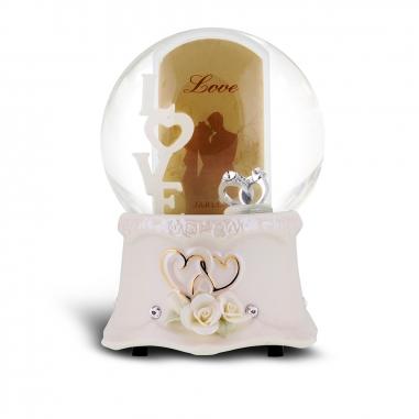 JARLL ART讚爾藝術 濃情LOVE相框音樂鈴水晶球