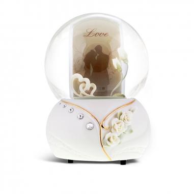 JARLL ART讚爾藝術 浪漫雙心相框音樂鈴水晶球